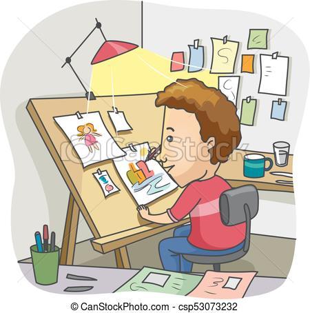 Man Illustrator Drawing Board Home Studio.