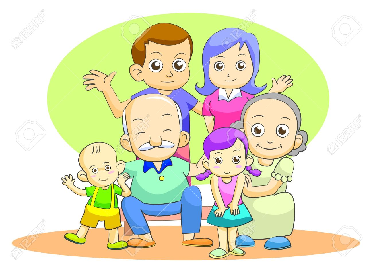 Family Catoon Isolated By Illustrator Stock Photo, Picture And.