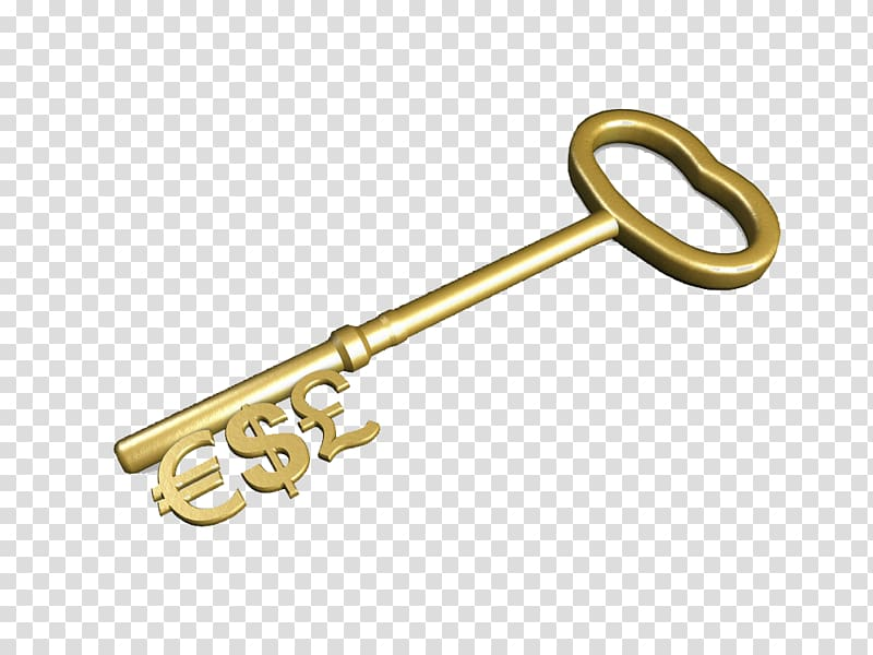 Investment Saving Money Account, Currency signs golden key.
