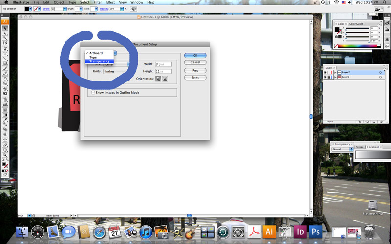 Transparent Background in Adobe Illustrator.