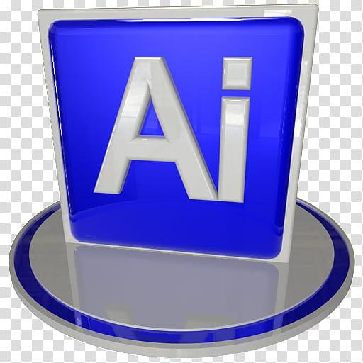 White and blue icon set , ai blue, Adobe Illustrator icon.