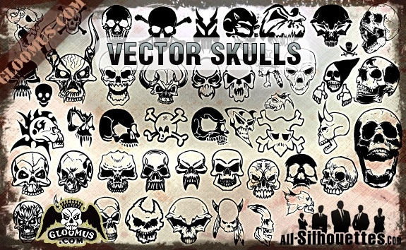 Vector Skulls Clipart Free vector in Adobe Illustrator ai.