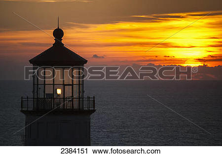 Stock Photography of A sunset at North Head Lighthouse; Ilwaco.