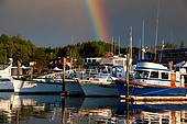 Pictures of Fishing boats in harbor with rainbow, Ilwaco.