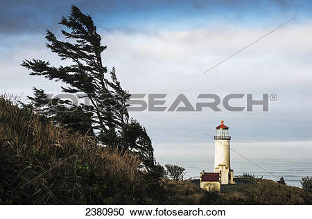 Stock Photography of North Head Lighthouse, Cape Disappointment.
