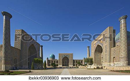 "Stock Photo of ""Links Ulugbek Madrasah, middle Tilya."