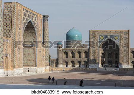 Stock Image of Ulugbek Madrasah and Tilya.