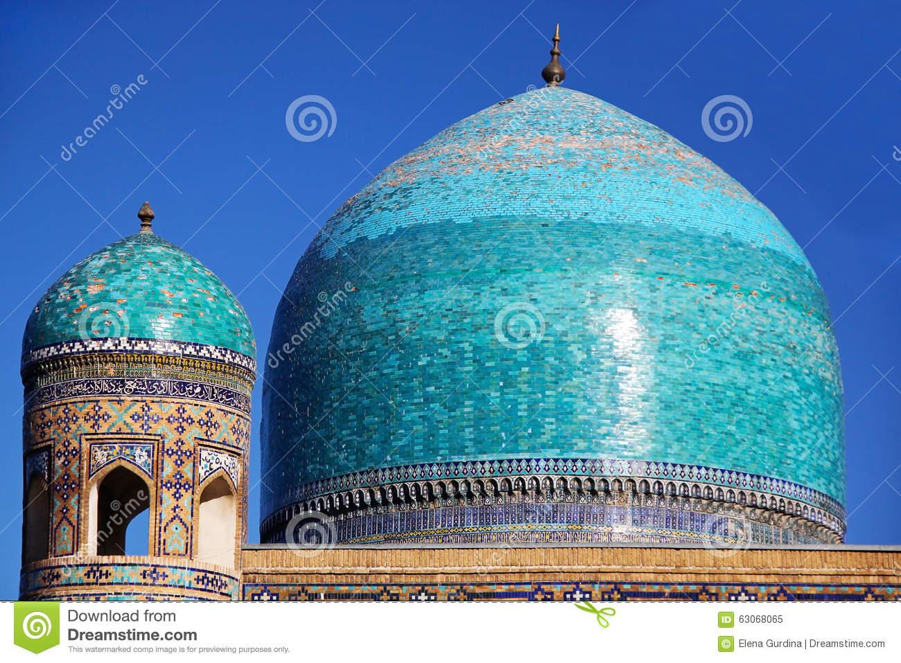 The Blue Dome Of Tilya Kori Madrasah, Samarkand, Uzbekistan Stock.