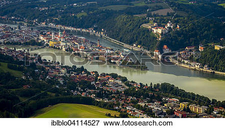 Picture of Confluence of three rivers Danube, Inn and Ilz, Passau.