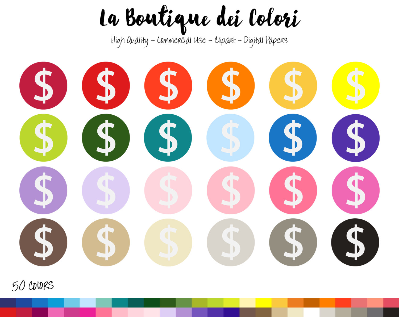 50 Rainbow Circle Dollar Sign Clip art Digital illustrations.