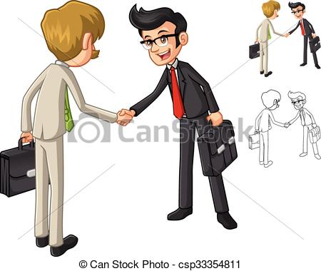 Vector Clip Art of Businessman Hand Shake Poses with Client.
