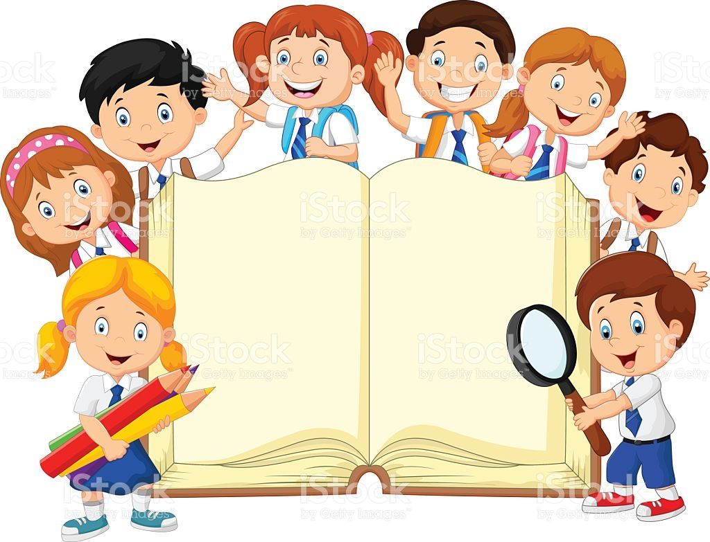 Vector illustration of Cartoon school children with book.