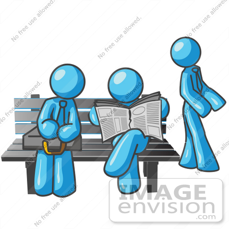 Image Envision Clipart Sky Blue Guy Characters Work At Computers.