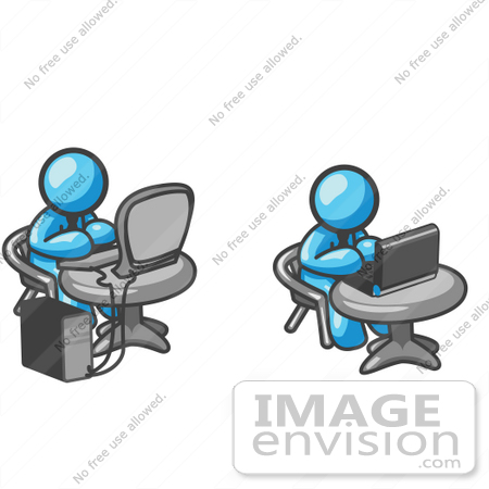 Clip Art Graphic of Sky Blue Guy Characters Working on Computers.