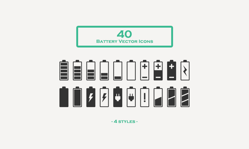 Free Download: 40 Battery Vector Icons.