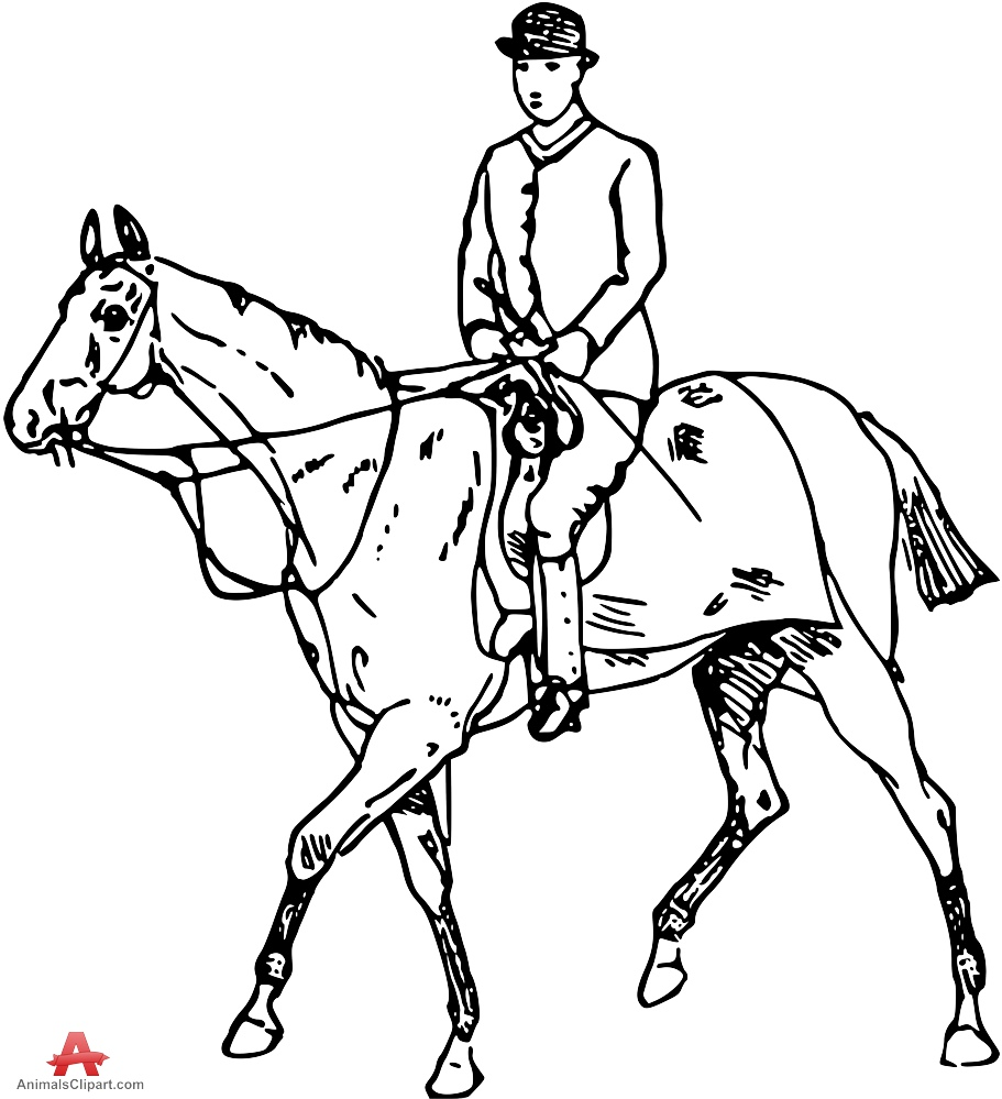 Man Riding on Horse Back Outline Clipart.