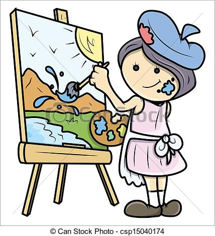 Girl Painting Clipart.