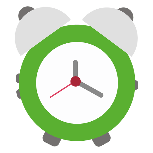 Green flat alarm clock.