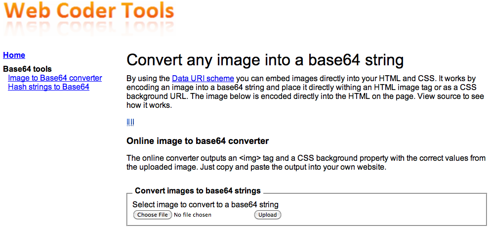 Tools to Convert .PNG Images to Base64 Text String for CSS.