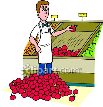 Boy in a Grocery Produce Section with a Pile of Apples at His Feet.