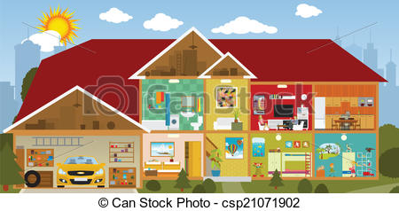 House section Clipart Vector Graphics. 736 House section EPS clip.