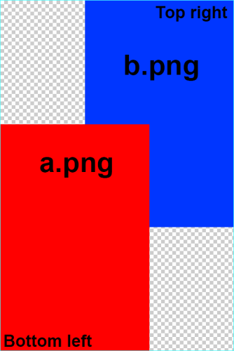 Merge two PNG images overlapping.