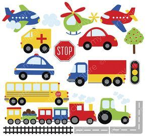 Trains, Planes and Trucks Clipart, Transportation, primary.