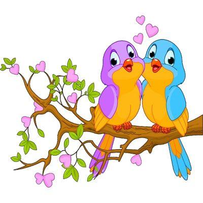 Pájaros del amor del pájaro de dibujos animados Imágenes.