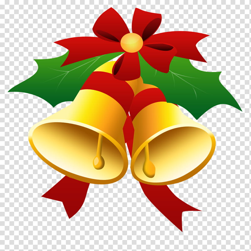 Navidad, two gold bells illustration transparent background.