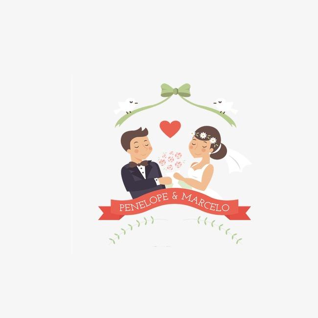 Cartoon Wedding Couple Clipart.