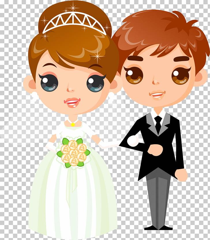 Pareja casada ilustración, boda invitación dibujos animados.