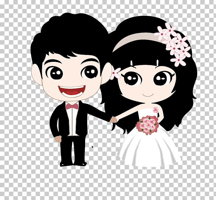 Ilustración de novios, dibujos animados de matrimonio de.