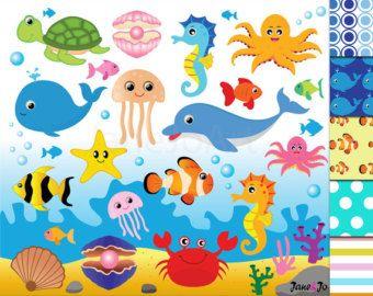 Clipart fish, clip art sea creatures.