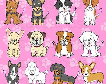 Toy Dog Breed Clipart, puppy and pet digital art, instant.