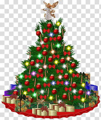 Navidad, green Christmas tree with gifts illustration.