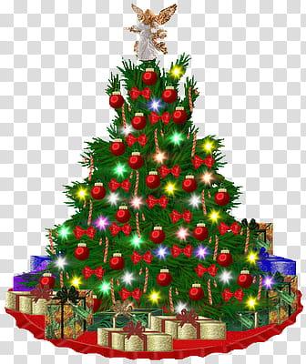 Navidad, green Christmas tree with gifts illustration.