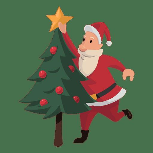 Santa poniendo dibujos animados estrella de Navidad.