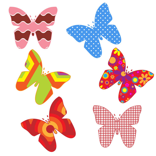 Colorful Butterflies Clipart Free Stock Photo.