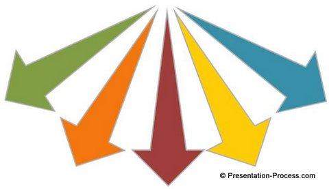 Diverging 3D arrows in PowerPoint.