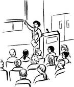 Clip Art of professor giving a lecture rco0002.