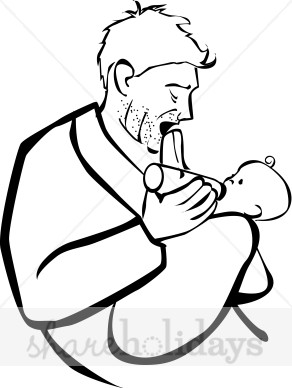 Father Feeding Baby Clipart.