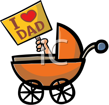 Baby in a Pram Holding a I Love Dad Sign Clipart Image.