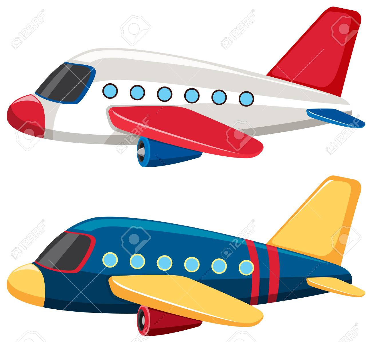 Two airplanes with blue and white colors illustration.