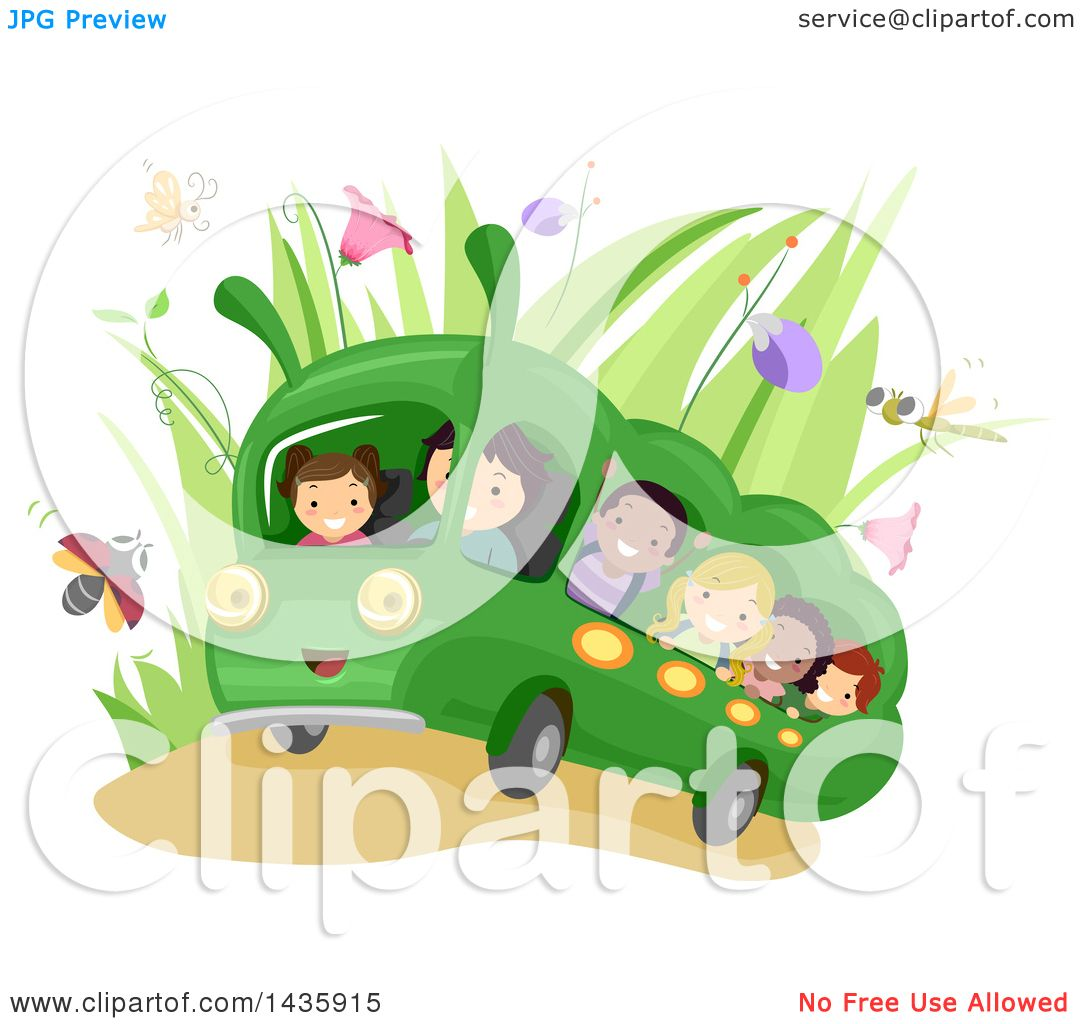 Clipart of School Children Riding a Caterpillar Bus.