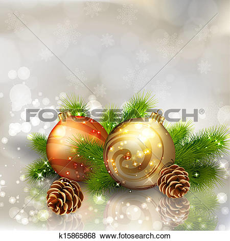Clip Art of Christmas balls with fir branches on abstract light.