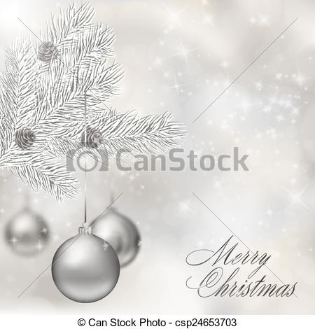 Vector Clipart of Silver Christmas balls on abstract light grey.