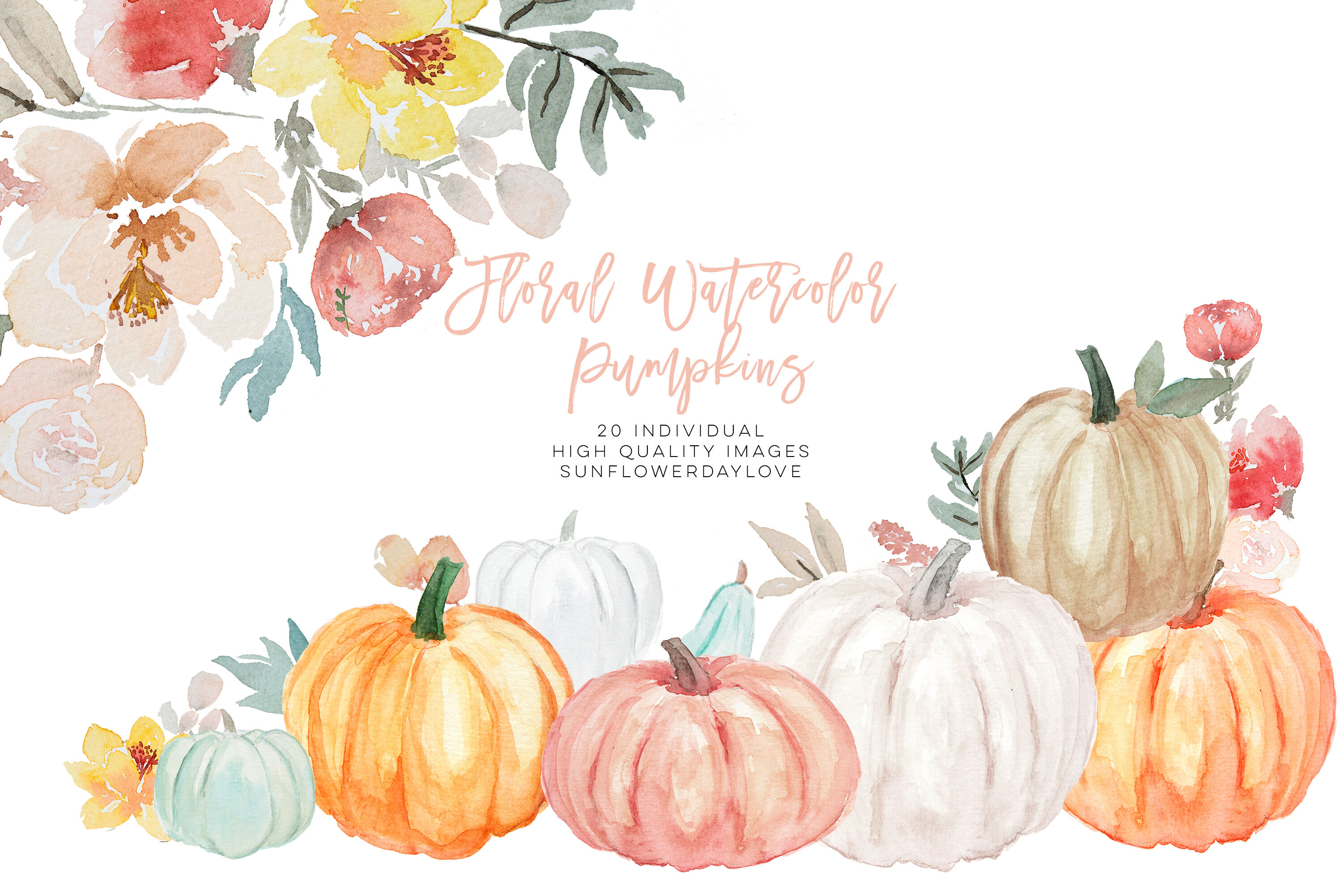 Pumpkin and Floral Watercolor fall clipart, Harvest.