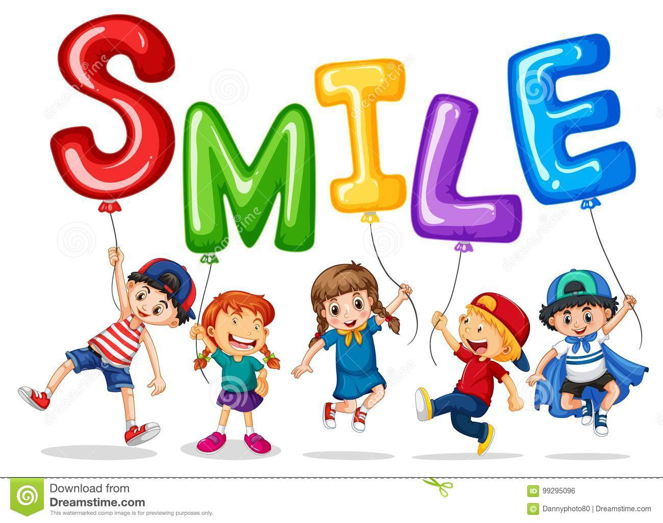 Happy Children And Balloons For Word Smile Stock Vector.