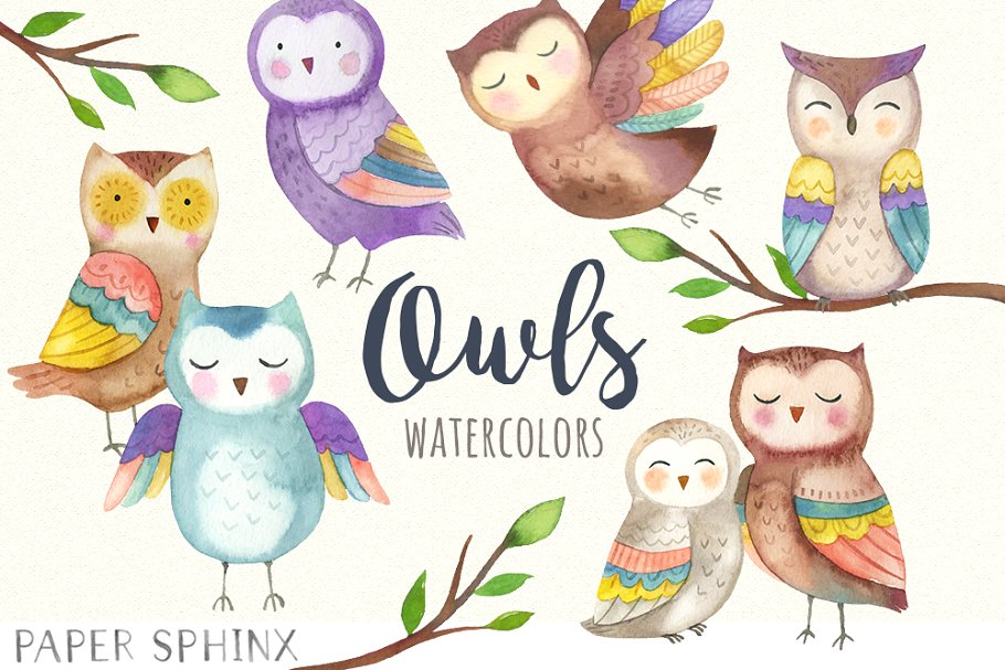Watercolor Owls Clipart Pack.