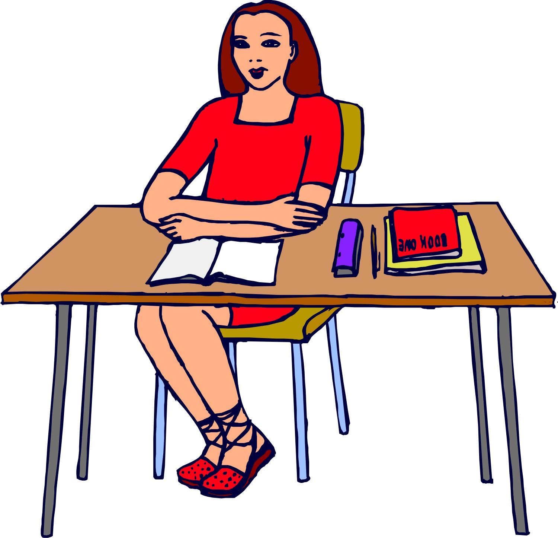 Teacher At Table Clipart.